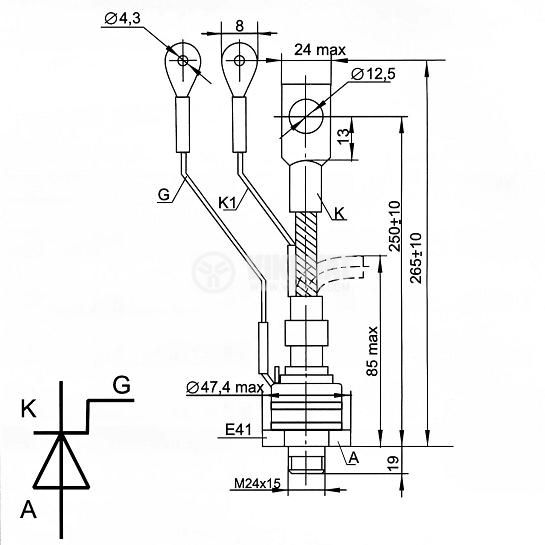 Тиристор ТЛ271-250-9, 900 V, 250 A - 2