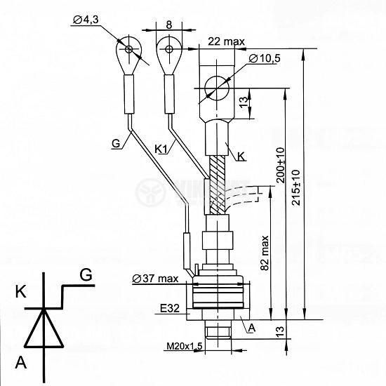 Thyristor T171-160-10, 1000 V, 160 A - 2