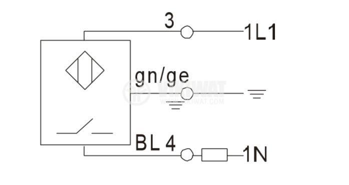 Proximity Switch EGT18X05AW220SR6, 90-250VAC, NO, M18x120mm, range 5mm - 4