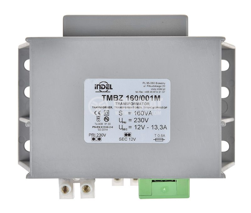 Трансформатор TMBZ 160/001M, 230/12VAC, 160VA, капсулован - 3