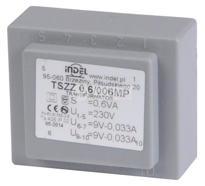 PCB Transformer 9+9 VAC, 2x0.3 VA - 1