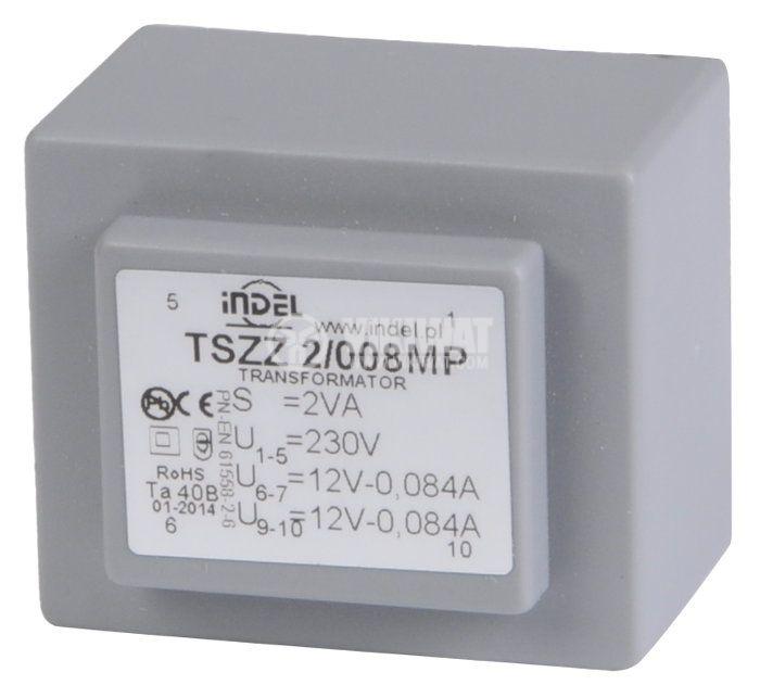PCB Transformer 12+12 VAC, 2x1 VA - 1