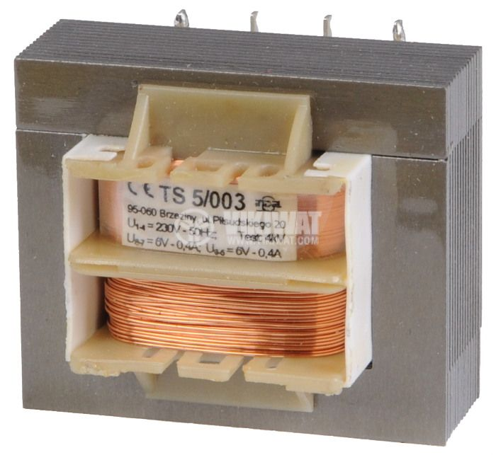 Transformer 230 VAC, 6+6 VAC, 2x0.4 A - 1