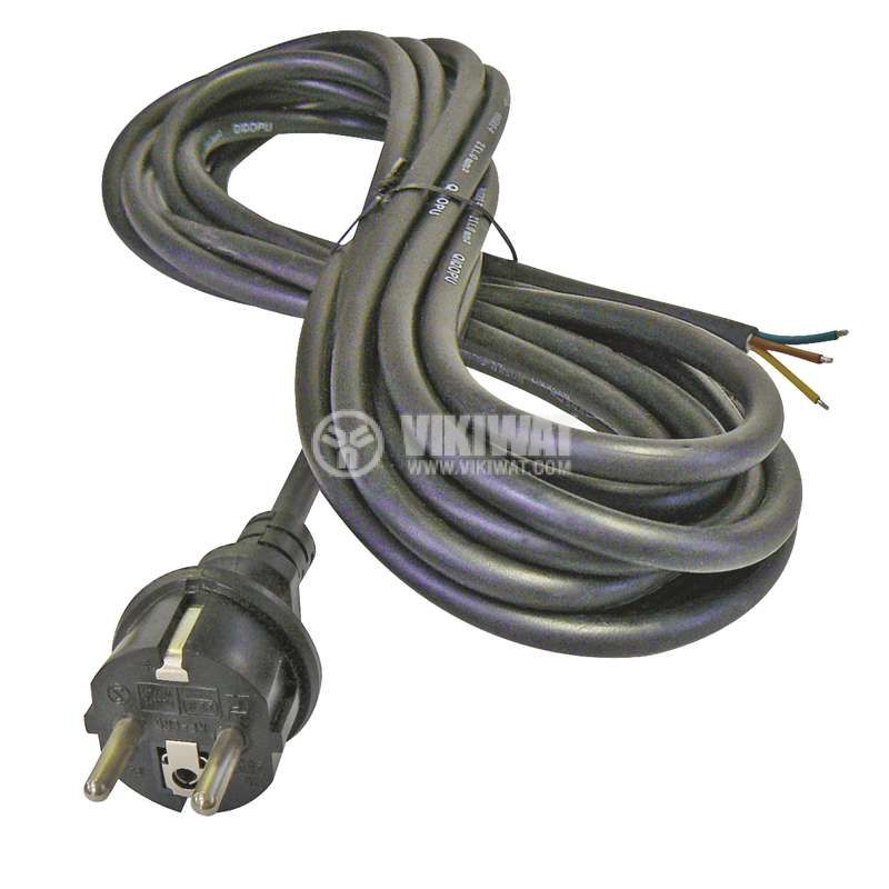Power cord 3х1.5mm2, 5m, black, rubber