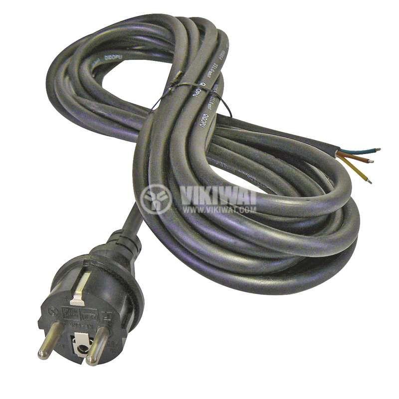 Захранващ кабел 3х1.5mm2, 5m, черен, гумиран
