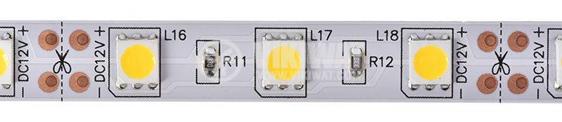 LED лента ECOLINE 5050, 60LED/m, 14.4W/m, 12VDC, IP20, невлагозащитена, топло бялa, BS01-00300 - 1