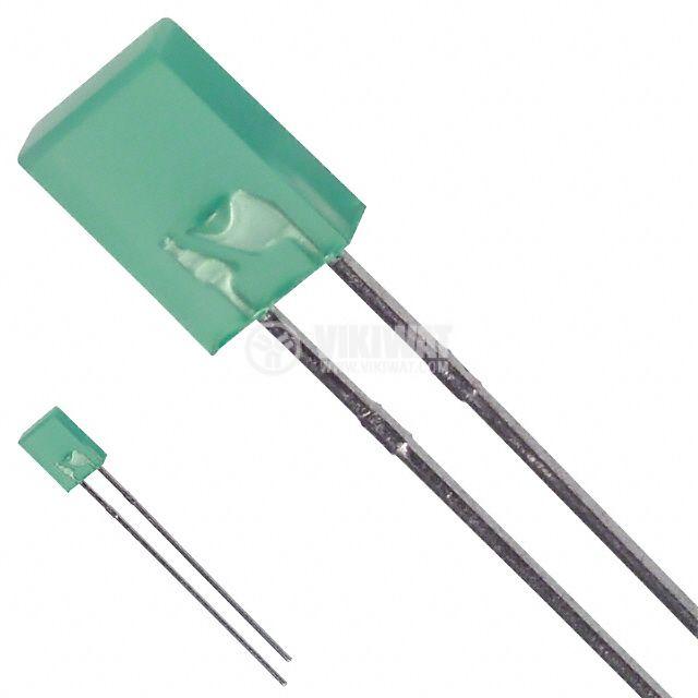 Светодиод VQA24E, 2x5 mm, правоъгълен, зелен