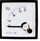 Frequency Meter, 45 Hz - 55 Hz, 220 V,  72 x 72 mm