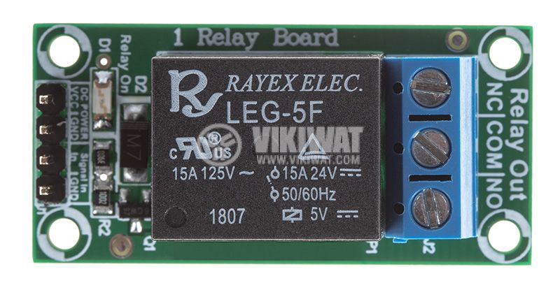 Relay board, 5VDC, 7A, 42x20mm, ON-OFF, NO-NC - 1