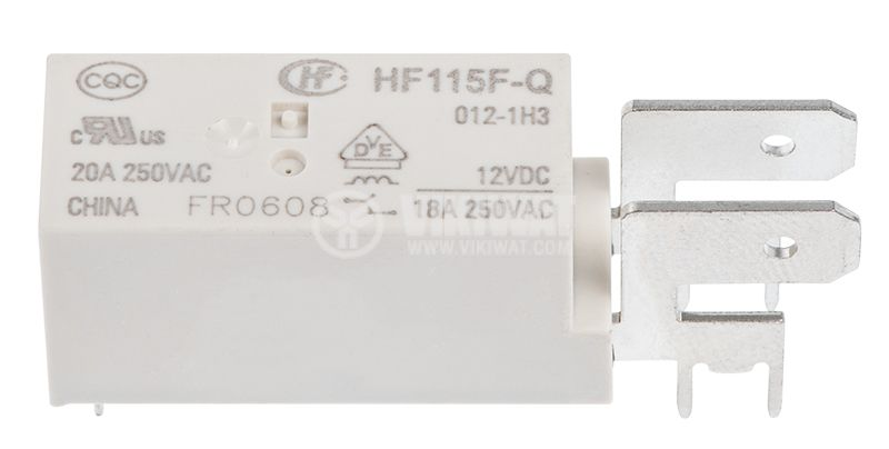 Electromagnetic relay, HF115F-Q/012-1H3, 12VDC/20A, 250VAC/20A, SPST, NO - 1