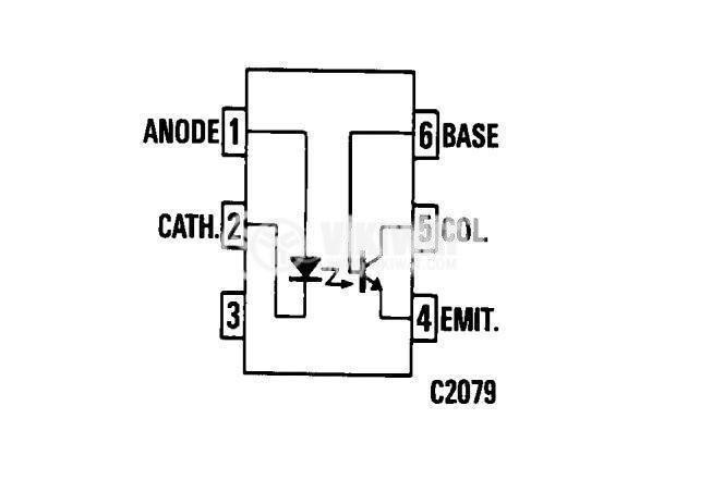 Оптрон TIL111, с транзисторен изход - 1