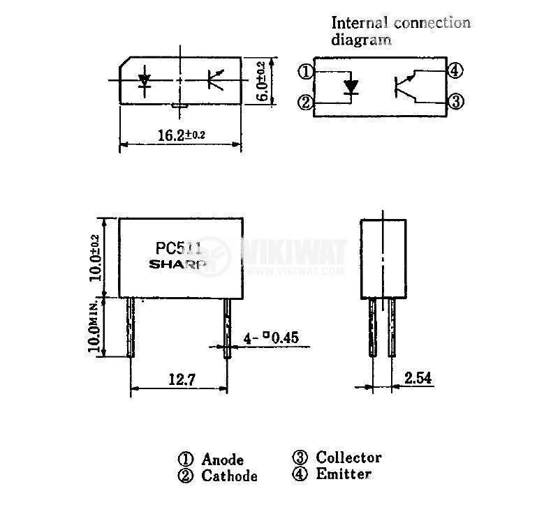 Оптрон  PC511, с транзисторен изход