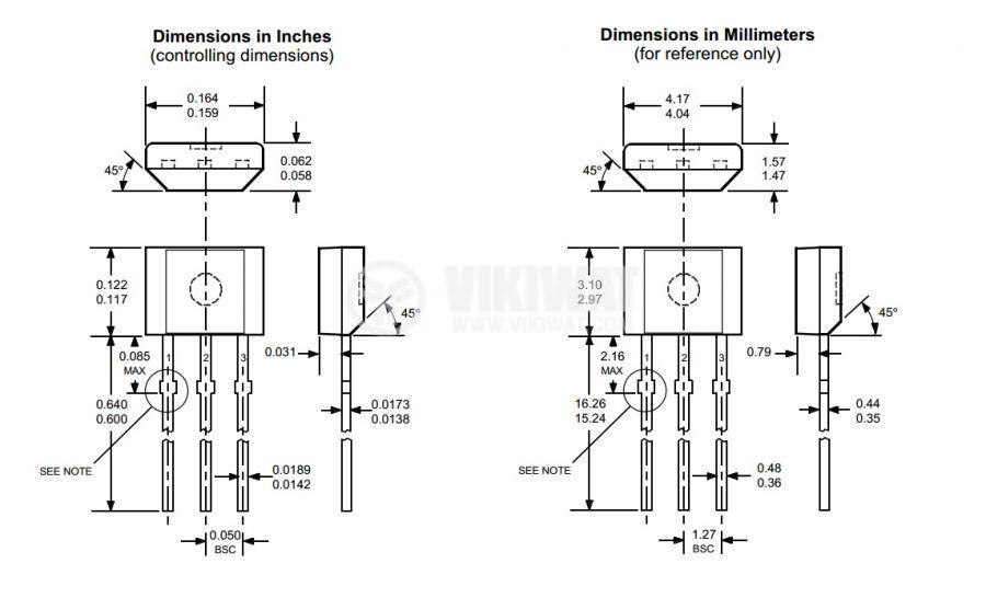 Датчик на Хол, UGN3177, 4-18 VDC, 15 mA, 3 pins - 2