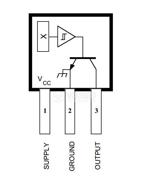 Датчик на Хол, UGN3177, 4-18 VDC, 15 mA, 3 pins - 3