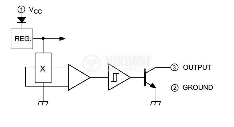 Датчик на Хол, UGN3177, 4-18 VDC, 15 mA, 3 pins - 4