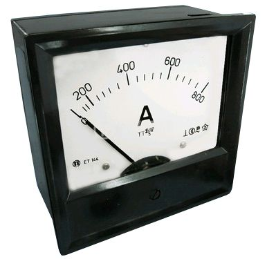Analogue panel ammeter ET144, 800 A, AC, current transformer operated 800/5