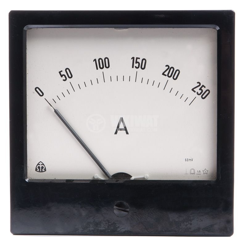 Analogue panel ammeter ET144, 250 A, AC, current transformer operated 250/5 А - 1