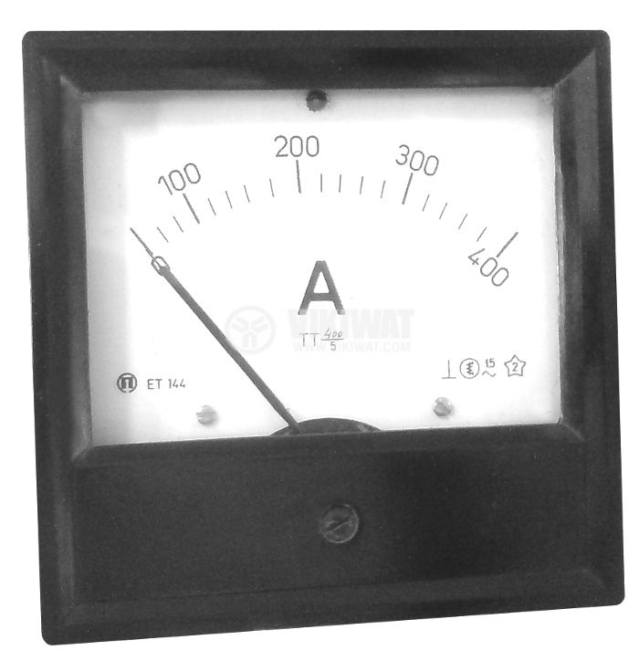 Analogue panel ammeter ET144, 400 A, AC, current transformer operated 400/5 A