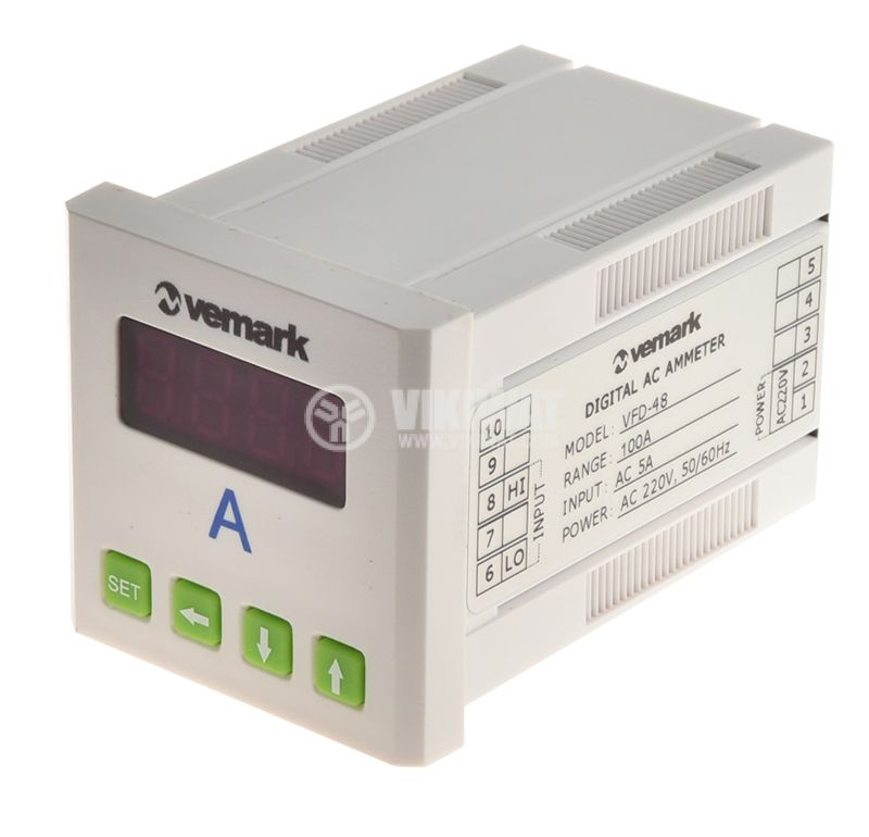 Digital panel ammeter, VFD-48, 100A, AC, current trasnformer operated 100/5A - 1