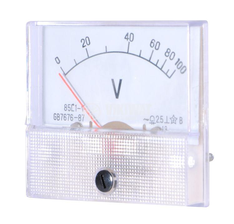 Волтметър, 100 VDC, 85C1-V, размери 65x55 mm