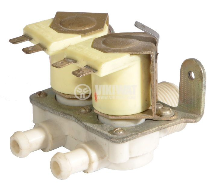 Electromagnetic valve double for automatic washing machines - horizontal - 1