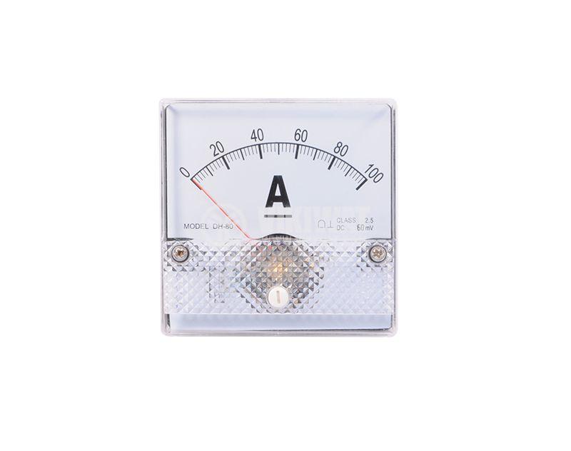 Амперметър, 100A, DC, DH80, с външен шунт 60mV - 1