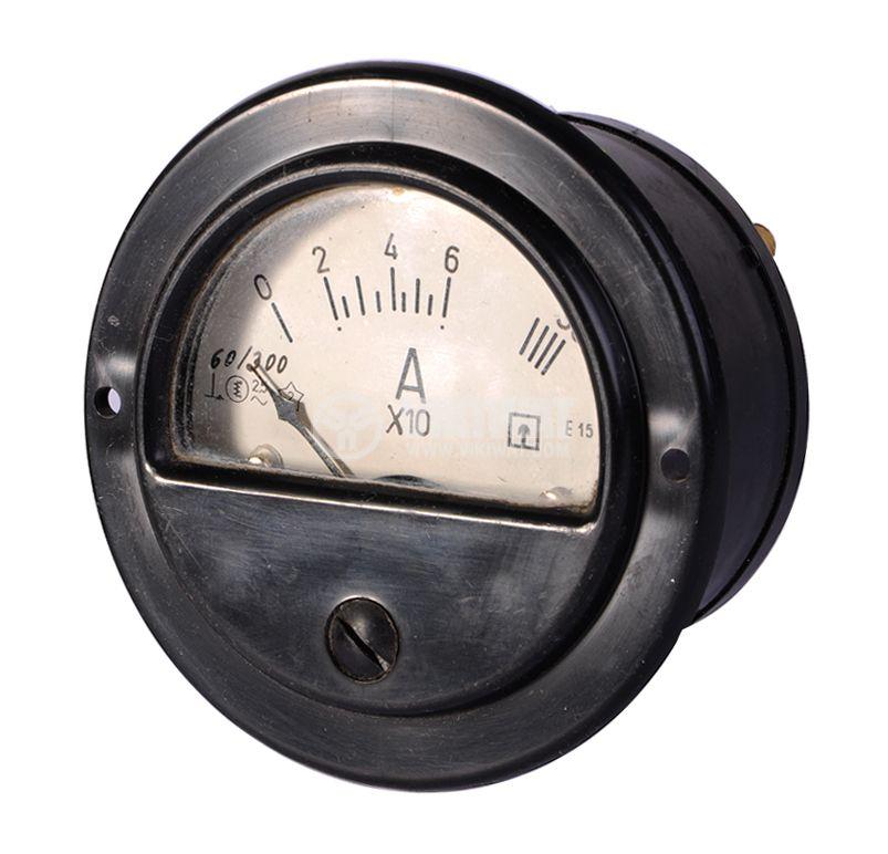 Aмперметър, 0-60 А / 300 A, AC, E15, Ф80 mm, директен - 1