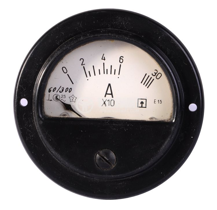 Aмперметър, 0-60 А / 300 A, AC, E15, Ф80 mm, директен - 2