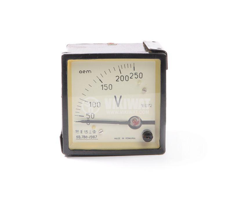 Волтметър, 0/50- 250 VAC,  директен, 1EQ72, размери 72x72 mm - 1