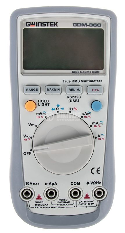 Цифров мултицет GDM-360, LCD(6000), Vdc/Vac/Adc/Aac/Ohm/F/Hz, Thue RMS, RS232 изход - 1