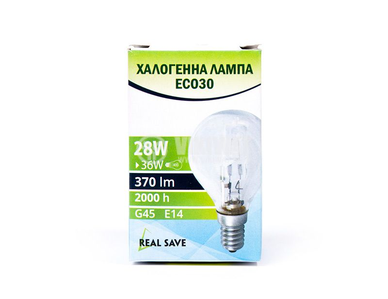 Halogen bulb E14, 220VAC, 28W, warm white, REAL SAVE - 2