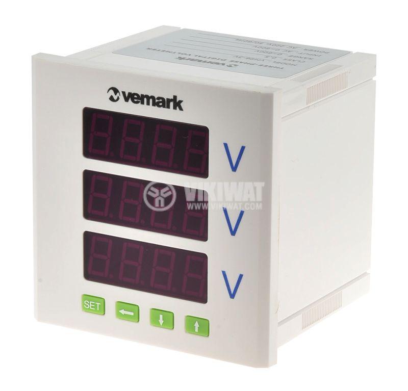 Трифазен цифров програмируем волтметър VМ96-3V, 3x600V, директен  - 1