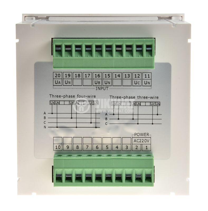 Трифазен цифров програмируем волтметър VМ96-3V, 3x600V, директен  - 2