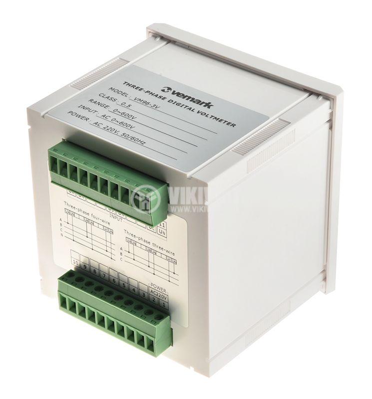 Трифазен цифров програмируем волтметър VМ96-3V, 3x600V, директен  - 3