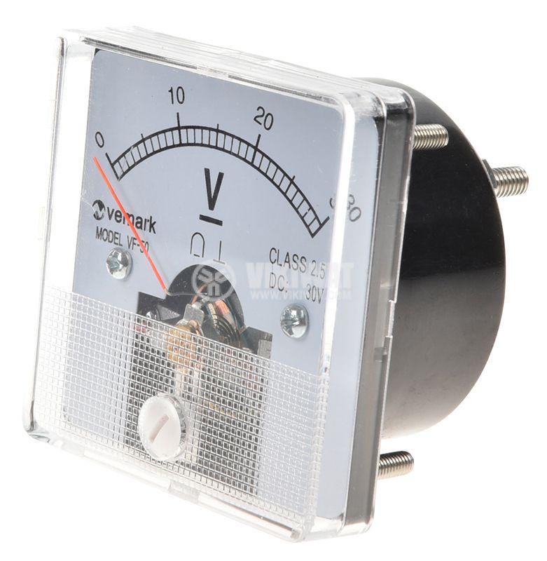 Волтметър, 0-30V, DC, VF-50, директен - 1