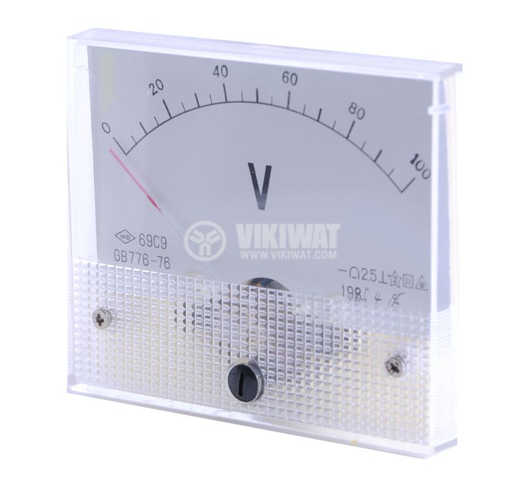 Волтметър, 100 V, DC, 69C9, 80x65 mm