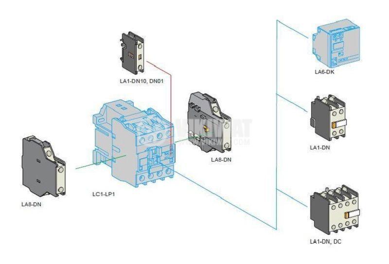 Спомагателен контактен блок, F4-11, 2PST - NO+NC, 4A/380V - 2