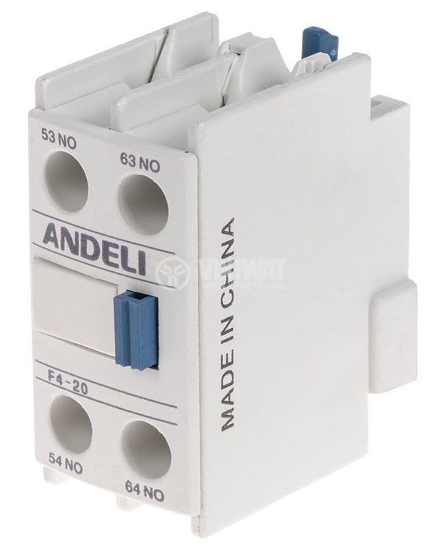 Спомагателен контактен блок, F4-20, 2PST - 2NO, 6A/380V
