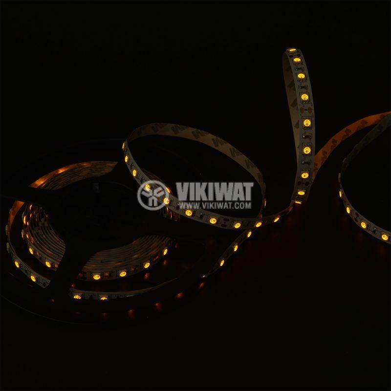 LED лента ECOLINE 5050, 60LED/m, 14.4W/m, 12VDC, IP20, невлагозащитена, жълта,  - 2