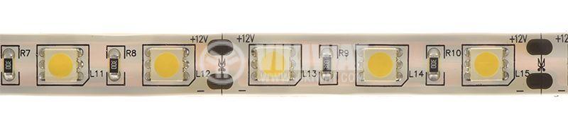 LED лента SMD5050, 60LED/m, 14.4W/m, 12VDC, IP65, влагозащитена, топло бялa, BS45-0400 - 1