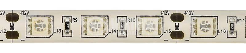Светодиодна лента LED, 60 диода на метър, син цвят, SMD5050, 12VDC, 14.4W/m, IP65 - 1