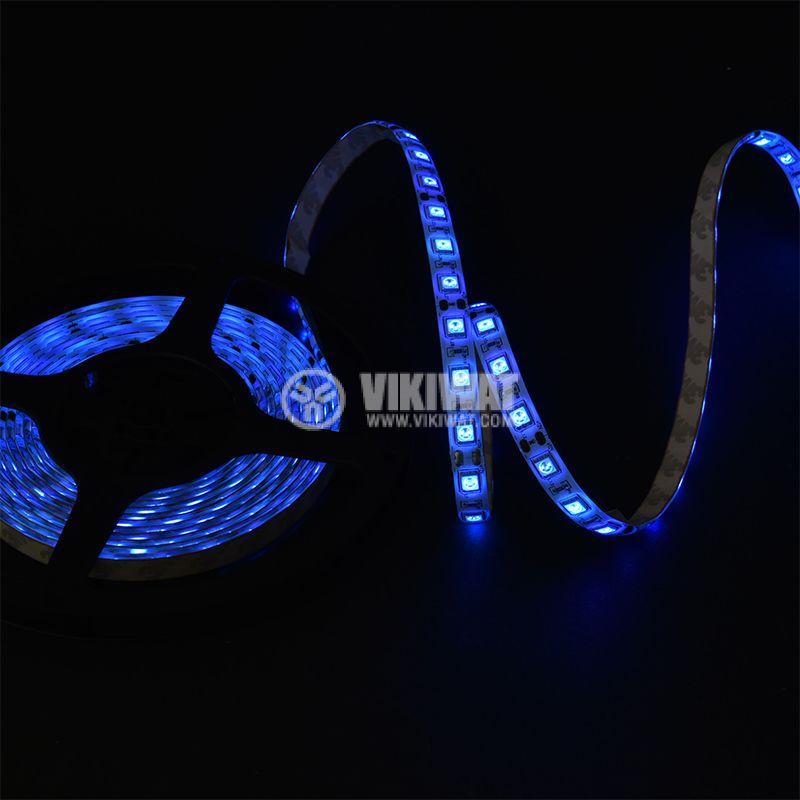 Светодиодна лента LED, 60 диода на метър, син цвят, SMD5050, 12VDC, 14.4W/m, IP65 - 2