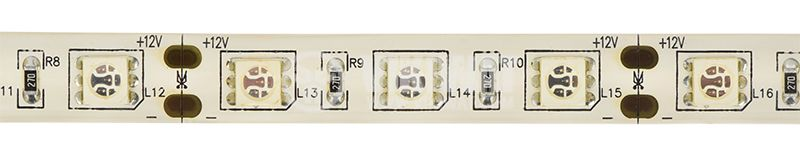 Светодиодна лента LED, 60 диода на метър, зелен цвят, SMD5050, 12VDC, 14.4W/m, IP65 - 1