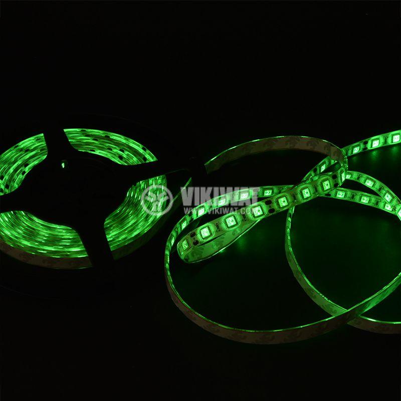 Светодиодна лента LED, 60 диода на метър, зелен цвят, SMD5050, 12VDC, 14.4W/m, IP65 - 2