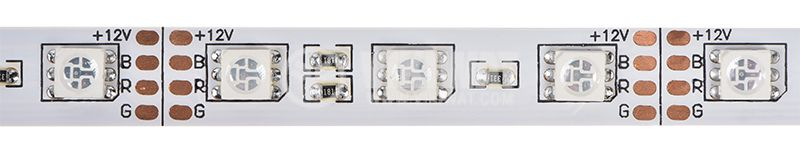 LED strip 60LED/m, RGB, SMD5050, 12VDC, 14.4W/m, IP20 - 1