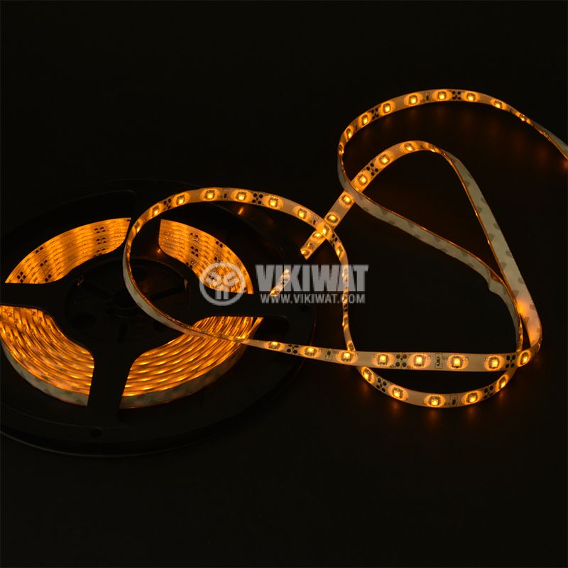 LED лента SMD3528, 60LED/m, 4.8W/m, 12VDC, IP65, влагозащитена, жълтa - 2