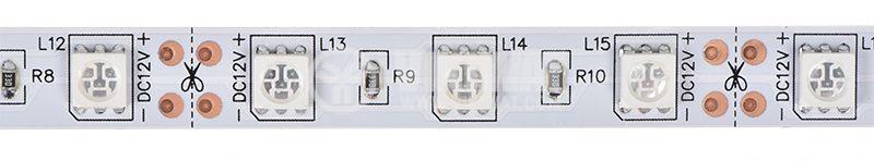 Светодиодна лента LED, 60 диода на метър, син цвят, SMD5050, 12VDC, 14.4W/m, IP20 - 1