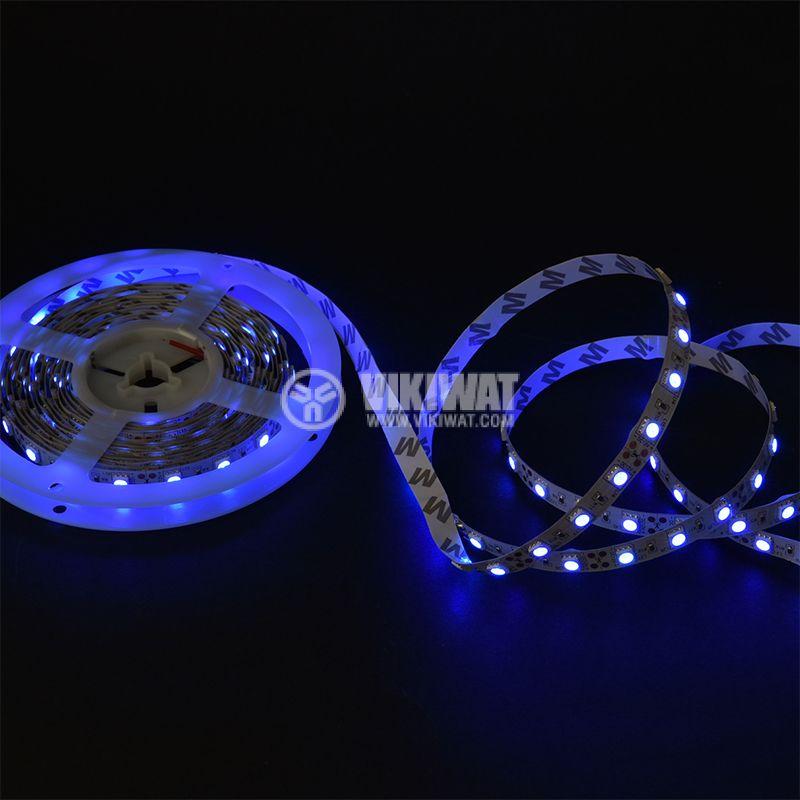 Светодиодна лента LED, 60 диода на метър, син цвят, SMD5050, 12VDC, 14.4W/m, IP20 - 2