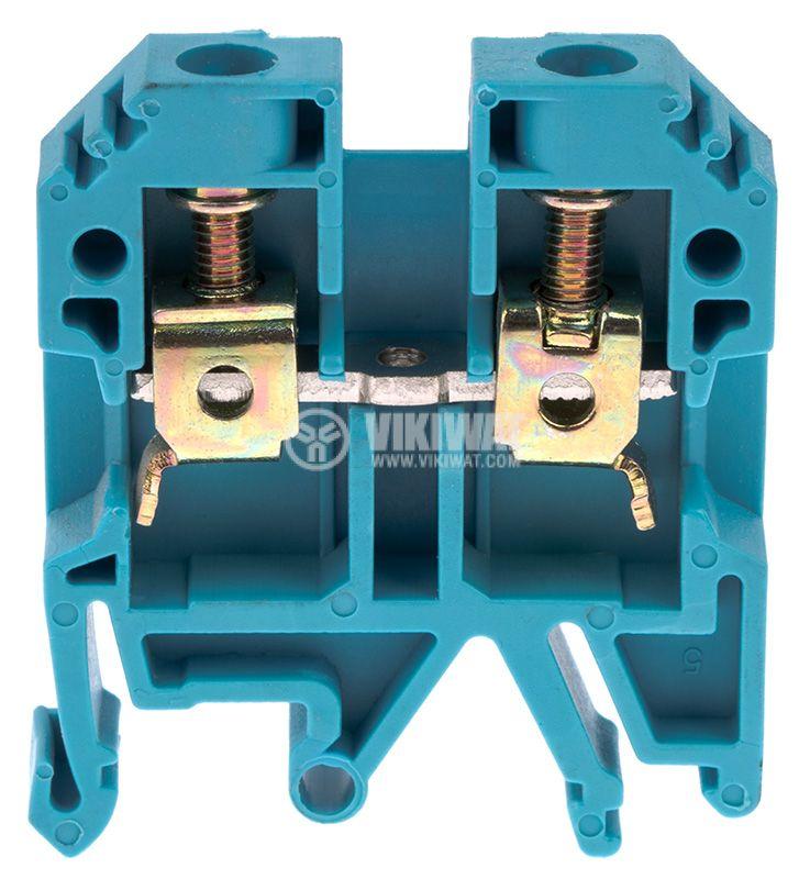 Редова клема, едноредова, JXB-6/35, 6mm2, 41A, 800V, синя - 1