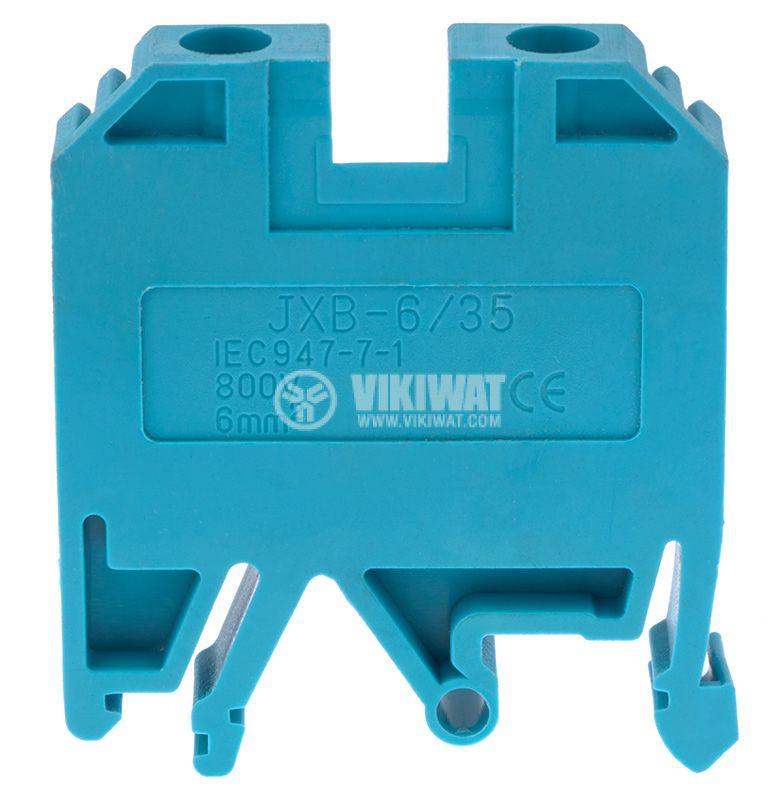 Редова клема, едноредова, JXB-6/35, 6mm2, 41A, 800V, синя - 2